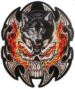 Flamed Skull Wolf Embroidered Back Patch