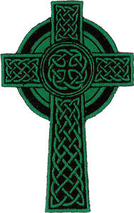 Celtic Cross (Green) Embroidered Patch