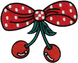 Cherries & Bow Embroidered Patch